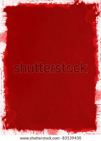 A red grunge paper background with splattered and uneven edges. - stock photo