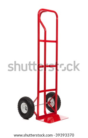 A red hand truck/dolly on a white background - stock photo