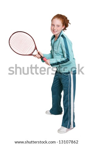 a red headed girl with a tennis racket and ball over white - stock photo