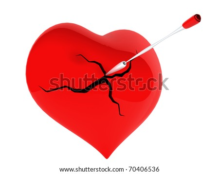 A red heart broken with an arrow - stock photo