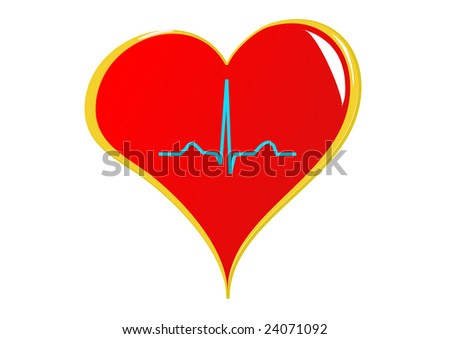 A red heart with a healthy sinus rhythm on it depicting a healthy heart. Isolated on white - stock photo