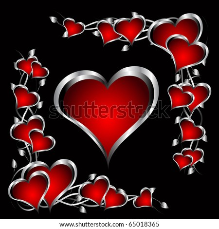 A red hearts Valentines Day Background with silver hearts and flowers on a black background - stock photo