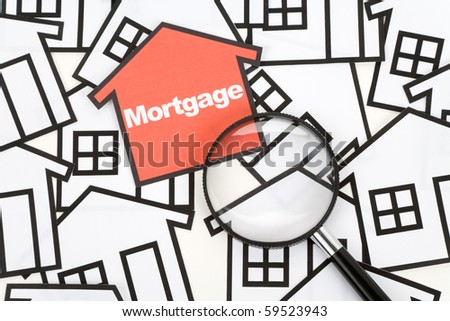 a red home sign,  Real Estate Concept , Mortgage - stock photo