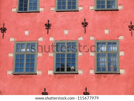 a red house in Stortorget place in Gamla stan, Stockholm - stock photo