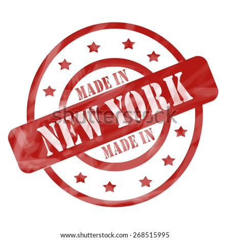 A red ink weathered roughed up circles and stars stamp design with the words MADE IN NEW YORK on it making a great concept. - stock photo