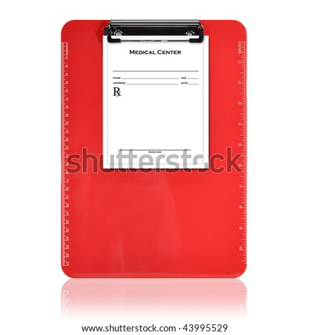 A red, isolated clipboard is holding a blank prescription piece of paper. The background is white. Use it for a medical or pharmacy photo. - stock photo