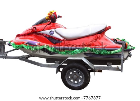 A red jetski with Christmas decorations - stock photo