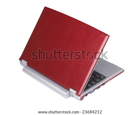 a red laptop computer isolated on white. - stock photo