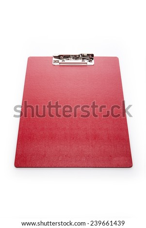 A red leather clipboard isolated white at the studio. - stock photo