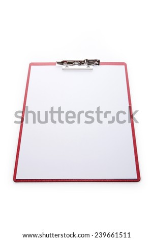 A red leather clipboard with a4 paper isolated white at the studio. - stock photo