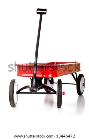 A red little red wagon on a white background with copy space