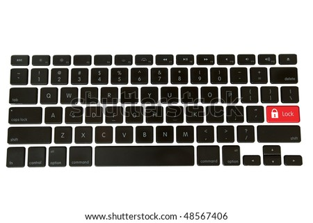 A red lock icon with text replaces the enter key on an isolated modern keyboard - stock photo