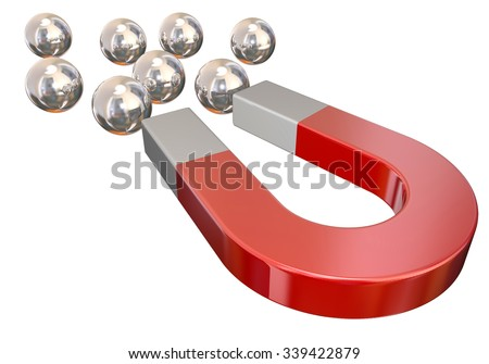 A red magnet pulling silver metal ball bearings to illustrate or symbolize physical attraction or force - stock photo