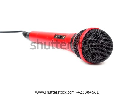 A red microphone for karaoke  - stock photo