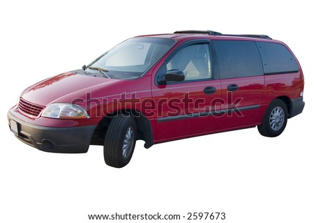 a red mini van over a white background - stock photo