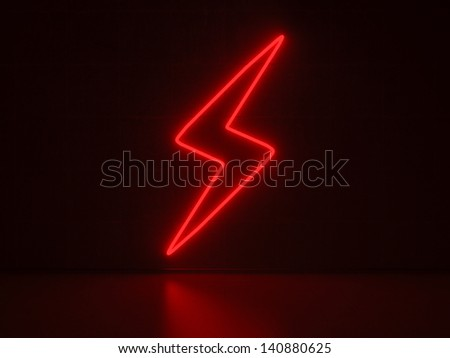 A red Neon Sign in Form of a Flash on a Wall of Concrete - stock photo