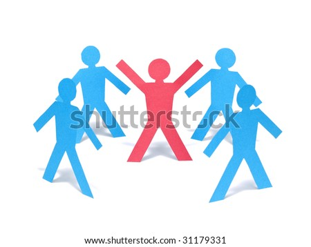 A red paper-man is raising his arms among the blue paper-men group.