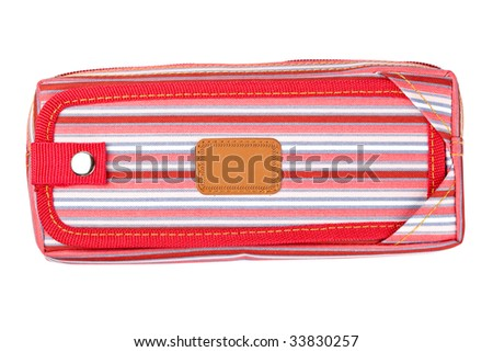 A red pencil case isolated on white background - stock photo
