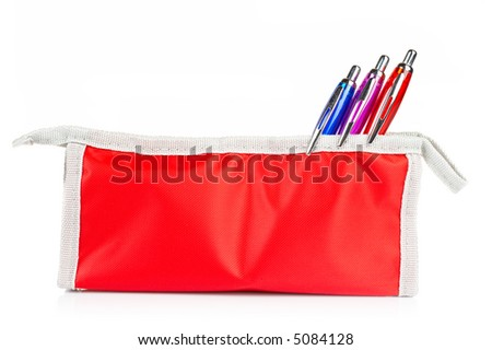 A red pencil case with soft shadow reflected on a white background - stock photo