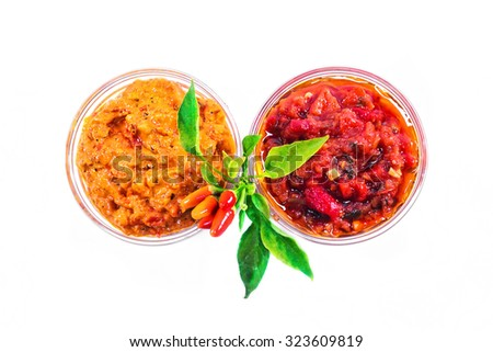 A red pepper spread traditionally made in the Balkans  - stock photo