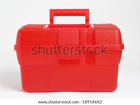 A red plastic  bag isolated on white background - stock photo