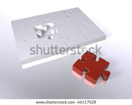 A red puzzle piece next to white pieces - stock photo