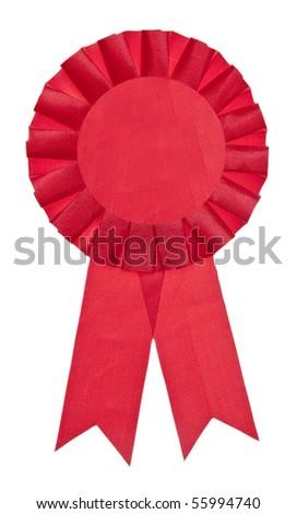 A red ribbon is a symbol for success and first prize. Isolated on White with a Clipping Path. - stock photo