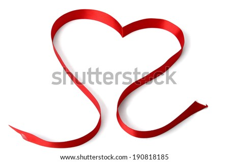 A red ribbon shaping heart , isolated on white background
