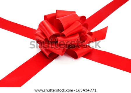 a red ribbon with a bow on a white background