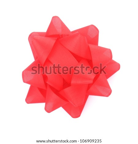a red ribbon with bow on white background
