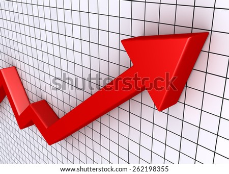 A red rising graphic chart with arrow and grid - stock photo