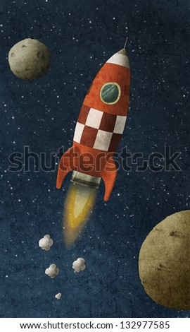 a red rocket flies through space - stock photo