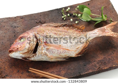 red sea bream grilled with salt, tai no shioyaki, japanese cuisine