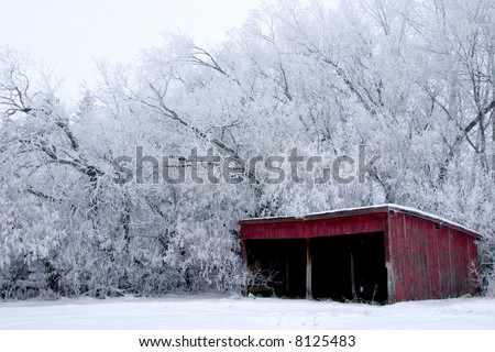 A red shed with frost covered trees in the background on a snowy winter's day. - stock photo