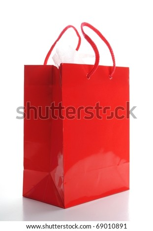 a red shopping bag isolated on white background - stock photo