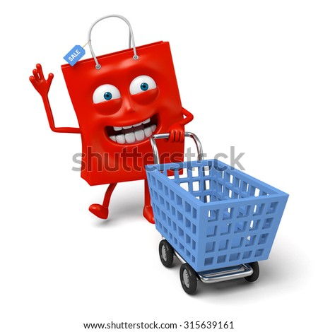 A red shopping bag with a shopping cart - stock photo