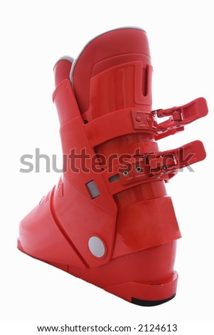 A red ski boot