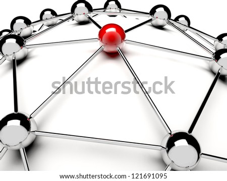 A red sphere linked with other grey: networking concept - stock photo