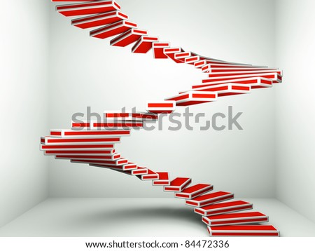a red spiral staircase up as a background - stock photo