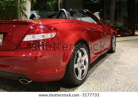 a red sporty convertible - stock photo