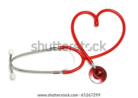 A red stethoscope forming the shape of a heart. - stock photo