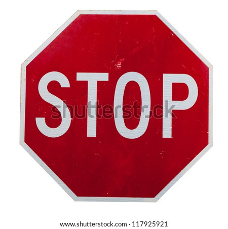 A red stop sign on a white background - stock photo