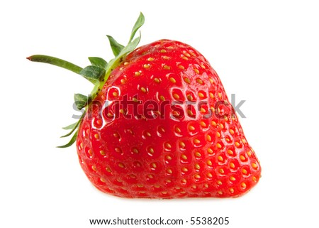 A red strawberry, isolated on a white background. - stock photo