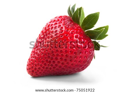 a red strawberry on white background exempt - stock photo