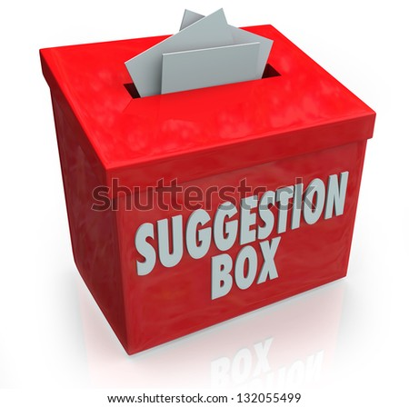 A red Sugestion Box with notes of paper stuffed into its slot offering feedback, comments and constructive criticism for improvement - stock photo