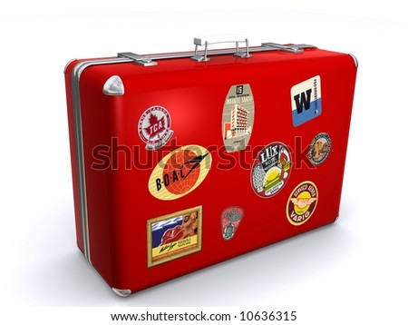 A red suit case with travel labels stuck on the luggage indicating lots of travel. - stock photo