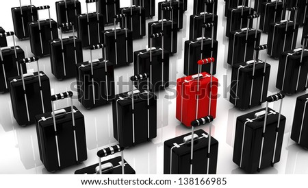 A red suitcase among many black color in 3d - stock photo