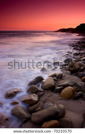A red Sunset along the Pacific Coast near Santa Barbara California - stock photo