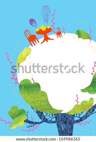 A red table on top of a rounded tree