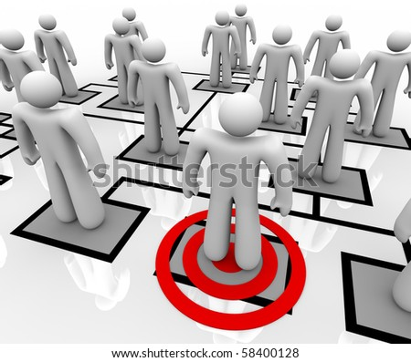 A red target centers on one employee in an organizational chart